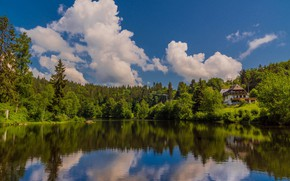 Picture forest, clouds, lake, house, reflection, Germany, Germany, Baden-Württemberg, Baden-Württemberg, Black Forest, The black forest, The …
