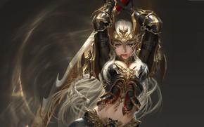 Wallpaper girl, warrior, fantasy, art, LVL, Solar interference signal, costume design, League of Angels - Origins