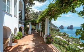 Picture sea, mountains, Italy, balcony, Capri