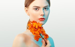 Picture look, girl, flowers, portrait, Orchid, Oleg Gekman