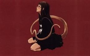 Picture loneliness, monster, schoolgirl, Chimera, deprecia, youkai, a bloody mist, long tail, by Yuusuke Kozaki