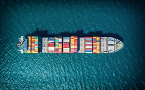 Picture The ocean, Sea, Top, The ship, The view from the top, A container ship, Vessel, …