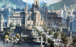 Picture the sky, mountains, fantasy, art, Palace