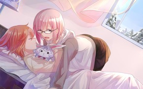 Picture sleeping, two, bedroom, characters, Fate / Grand Order, The destiny of a great campaign