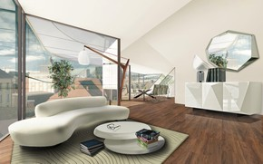 Picture design, interior, penthouse, living room, dining room, Vienna