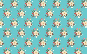 Picture background, blue, texture, flowers