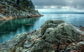 Picture the sky, trees, landscape, clouds, nature, lake, stones, rocks, Canada