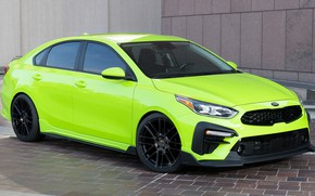 Picture car, wall, green, lights, tuning, drives, front, Kia, tuning, green, Kia, Kia Forte Federation