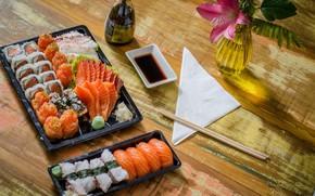 Wallpaper flower, fish, sushi