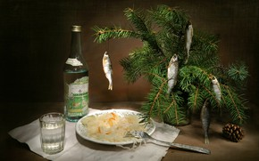 Picture New year, vodka, appetizer, In anticipation of the holiday