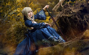 Wallpaper forest, look, girl, blue, face, roots, pose, style, stones, weapons, foliage, sword, hands, hairstyle, blonde, ...