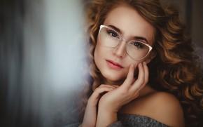 Picture look, girl, face, portrait, hands, glasses, curls, curls