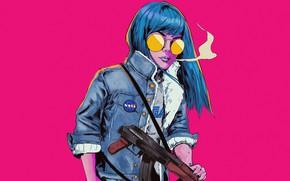 Picture Girl, Style, Face, Girl, Machine, Art, Art, Style, Kalashnikov, Face, Blue hair, Bruno Ferreira, by …