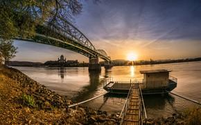Picture sunset, bridge, river