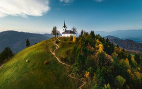 Picture landscape, mountains, nature, hills, track, Church, forest, Slovenia, Valentin Valkov