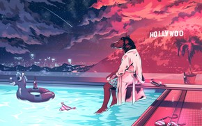 Picture Night, Stars, Horse, Art, Cartoon, Character, The pool, Hollywood, The cartoon series, Alexander Wells, BoJack, …