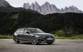 Picture forest, mountains, Audi, universal, 2019, A4 Avant, S4 Before