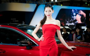 Picture girl, model, exhibition, Asian, the dealership