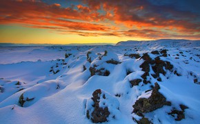 Picture clouds, snow, glow, Iceland