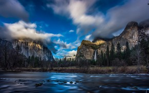Picture forest, water, clouds, landscape, mountains, nature, waterfall, USA, Yosemite, national Park, reserve, Yosemite National Park
