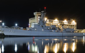 Picture night, lights, warship