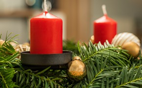 Picture winter, balls, branches, holiday, balls, candle, candles, Christmas, red, New year, needles, gold, candle holder, …