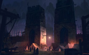Picture City, fantasy, tower, cathedral, night, walls, people, artwork, fantasy art, lantern, door, medieval, illustration, tents, …