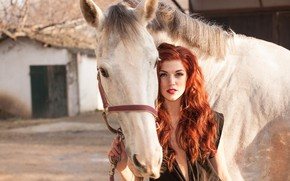 Picture look, girl, the sun, model, horse, portrait, makeup, hairstyle, white, red, bokeh