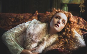 Picture girl, face, pose, fur, red, curls, redhead