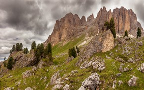 Picture greens, the sky, grass, clouds, mountains, stones, overcast, rocks, tops, spring, ate, slope, in the …
