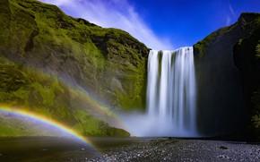 Picture the sky, the sun, rock, stream, stones, waterfall, moss, rainbow, Iceland, Iceland, Skogafoss, Skogafoss