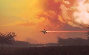 Picture Clouds, The plane, Flight, Fighter, Landscape, Clouds, Landscape, Jet, Airplane, Flying, Bird, Flies, Fighter, James …