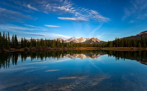 Picture forest, the sky, clouds, mountains, reflection, blue, rocks, shore, the slopes, view, ate, Canada, Albert, …