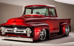 Picture Red, Car, Classic, Color, Truck, Chrome, F100, Ford F-100