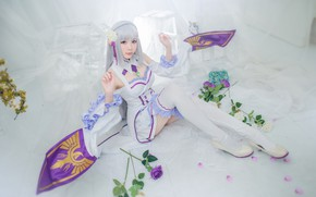 Picture flowers, room, image, long-haired, elf, sitting, hands, window, bangs, white, lilac, purple, petals, shoes, chest, …