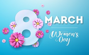 Picture flowers, pink, happy, March 8, pink, flowers, blue background, women's day, 8 march, women's day