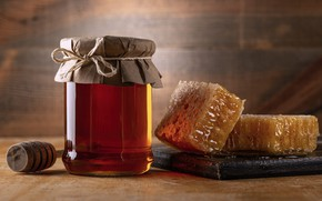 Picture glass, paper, Board, cell, spoon, Bank, honey, bow