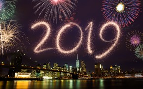 Picture night, lights, salute, colorful, New Year, happy, night, New Year, fireworks, 2019