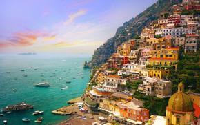 Picture sea, sunset, mountains, home, yachts, Italy, panorama, Amalfi, Positano