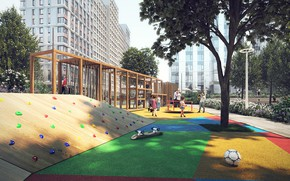 Picture children, the ball, building, Board, Playground