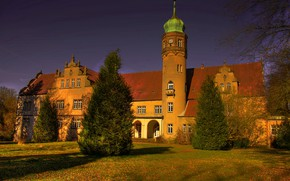 Picture autumn, the sky, grass, leaves, the sun, trees, castle, HDR, Germany, Castle Ulenburg