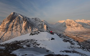 Picture winter, snow, mountains, tops, tent, tourism