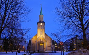Picture winter, snow, trees, the city, building, home, the evening, lighting, Norway, Church, Tromso