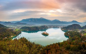 Picture Lake Bled, Mala Osojnica, Slovenian sunset, Panoramic view