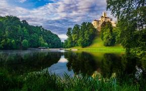 Picture clouds, trees, landscape, nature, lake, castle, Croatia, Тракошчан, Вараждин