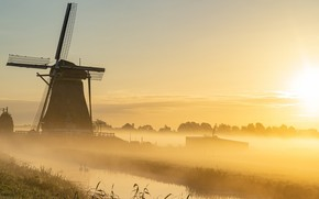 Picture fog, morning, mill