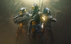 Picture smoke, soldiers, armor, trio, Destiny 2, Destiny 2: Shadowkeep