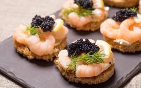 Picture lemon, bread, sandwich, caviar, shrimp