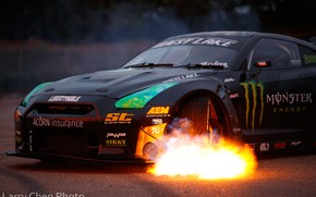 Picture fire, flame, Nissan, GT-R, drift, Monster Energy, R35, Larry Chen