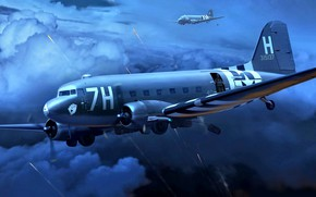 Picture USA, Douglas, WWII, C-47, Skytrain, D-Day 6th June 1944, Military transport aircraft, Band of invading